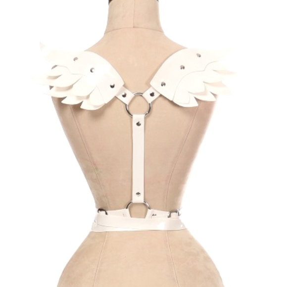 Daisy Corsets Accessories - Festival Rave White Patent Body Harness w/Wings